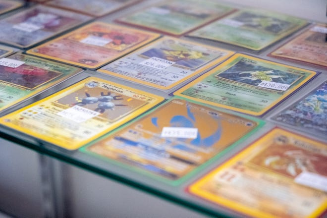 Pokémon cards in a display case at R&D Gaming in Port Huron Township on Aug. 17, 2021.