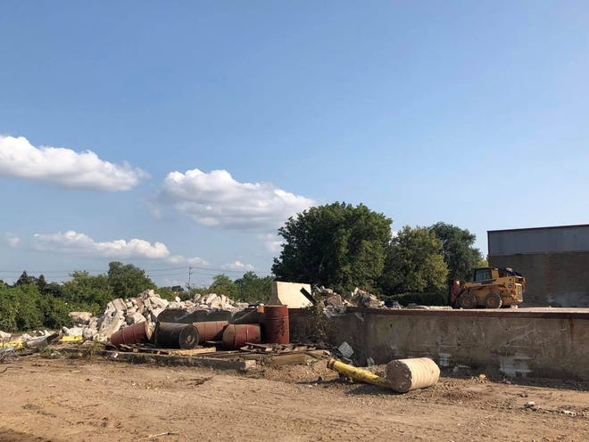 Demolition at the Steel District site in downtown Sioux Falls, formerly the site of the Sioux Steel Company.