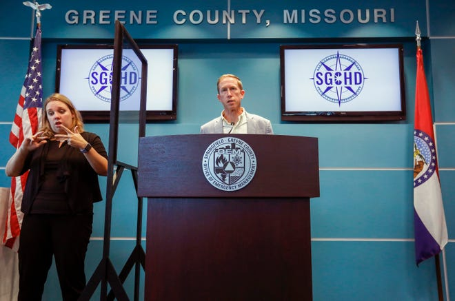 Jon Mooney, Assistant Director of the Springfield-Greene County Health Department, talks about COVID-19 situation during a press briefing at the Greene County Public Safety Center on Wednesday, Aug. 18, 2021.