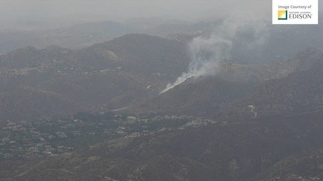 Smoke from a small brush fire north of Highway 118 in the Simi Valley area which was visible from a Southern California Edison camera on Wednesday afternoon, Aug. 18, 2021