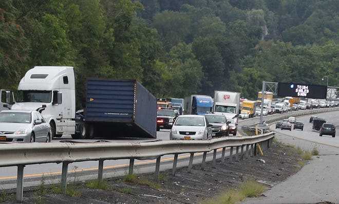 A large container fell off a truck on southbound Interstate 684 just south of Exit 8 in Croton Falls on Aug. 18, 2021.