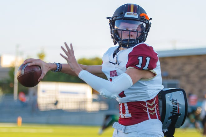 """Rouse junior quarterback Mason Shorb earned the starting job as a sophomore and threw for 3,100 yards and 39 touchdowns on 65% passing. """"We wantto stay humble; we want to keep that underdog mentality,"""" Shorb said of the Raiders, who are coming off a 10-2 season."""