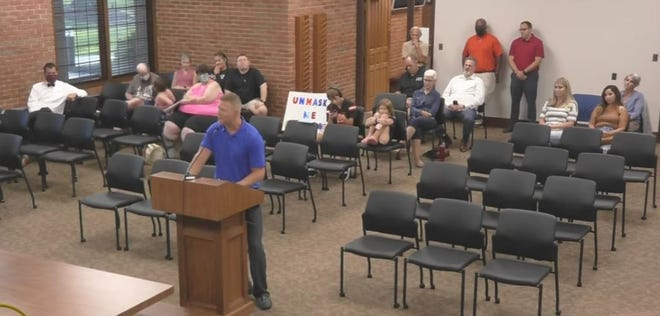 Several parents spoke at Wednesday's school board meeting, asking that the board of education make mask-wearing optional for the district's students. Speakers included Matt Grant.