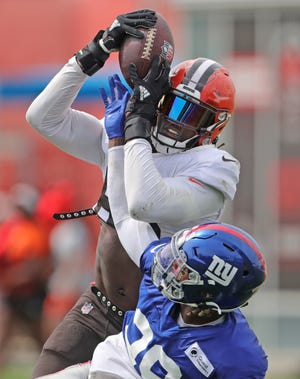 Browns tight end David Njoku has gone from a player requesting to be traded to a potential starter this season. [Phil Masturzo/ Beacon Journal]