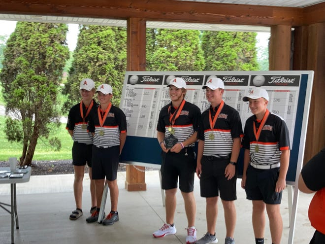 Members of the Ashland High boys golf team pose for a picture after winning the Weiss Invitational Thursday at the Ashland Golf Club.