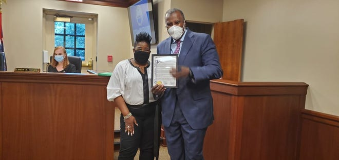 Burlington County Commissioner Director Felicia Hopson presented a proclamation to John Harmon Sr., Founder, President and CEO of the African American Chamber of Commerce of New Jersey, recognizing the Chamber's work and advocacy and the importance of National Black Business Month.