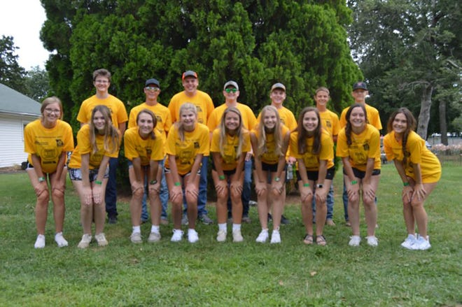 Members of the PILOT GROVE FFA participated in the Missouri FFA Food Insecurity Day Tuesday, August 17, at the Missouri State Fair.  They joined more than 900 FFA members and agricultural leaders from around the state to spend the day packing meals to feed Missouri children and families in need.