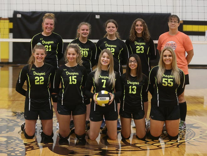 Bunceton volleyball team (front row, left to right) Madison Brown, Laney Heilman, Alexia Hein, Bella Vaca and Kylee Myers. (back row, left to right) Kelcy Mullett, Haleigh Gerke, Piper Merrill, Hailey Milne and head coach Christin Rutledge. Not pictured are Savanna Tracy, Aubree Hedgpeth and Hannah Empie.