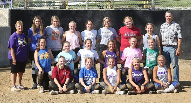 Pilot Grove softball team (front row, left to right) Brooke Murphy, Kayla Lorenz, Grace Phillips, Claire Rentel and Kaitlyn Maggard. (second row, left to right) Olivia Felten, Harlei Kammerich, Halea Hoff, Maddie Watring, Grace Peterson, and Marci Lammers. (third row, left to right) Assistant coach Linda Scott, Tara Arnold-manager, Ava Hoff, Cloey Tavenner, Lauren Krumm, Elaina Wirths, Kendall Rhorer, Natalie Peterson, and head coach George Monk.