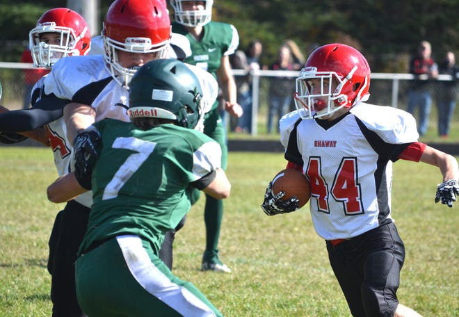Junior running back Hudson Decker (44) will look to lead the offense of the Onaway varsity football team this fall.