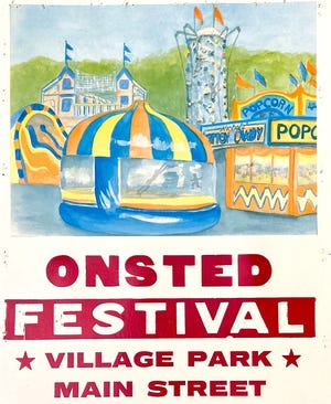 This promotional image for the Onsted Festival shows that the festival will be held in Onsted's Village Park and along Main Street. Festivities for the annual summer event begin today around 5 p.m. and continue Saturday and Sunday.