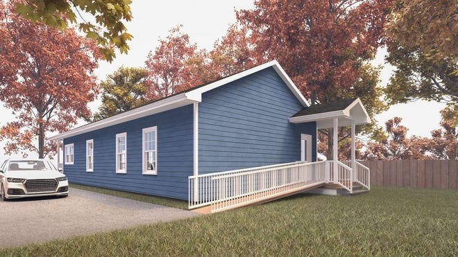 This artist's rendering shows the side of the veteran's build home with driveway that is being planned by Habitat of Humanity of Lenawee County.
