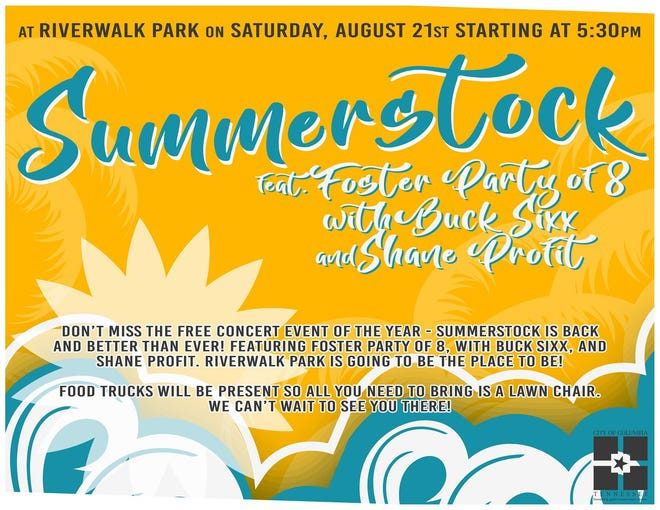 The SummerStock concert featuring Foster Party of 8, Buck Sixx and Shane Profitt returns to Riverwalk Park starting at 5:30 p.m. Saturday.