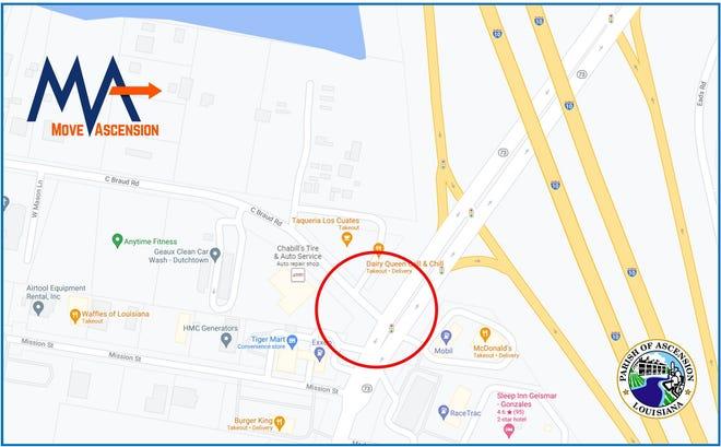 Ascension Parish Department of Public Works announces lane closures on C Braud Road.