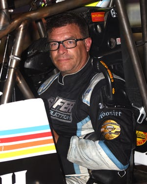 Bobby Mincer of Burlington gets set for a heat race last week at the Knoxville Nationals.