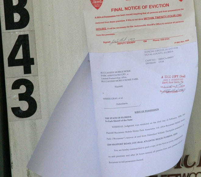 An eviction notice on a home.