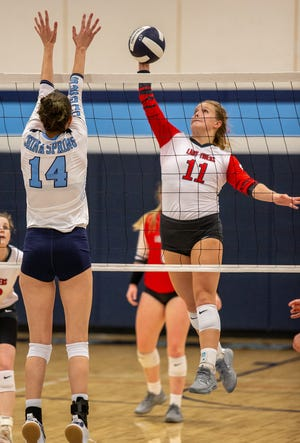 Glen Rose's Matti Young takes a shot down the line against China Spring on Monday night.