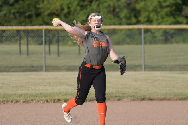 Macon's Emma Bruno fields a ground ball during practice on Aug. 17.