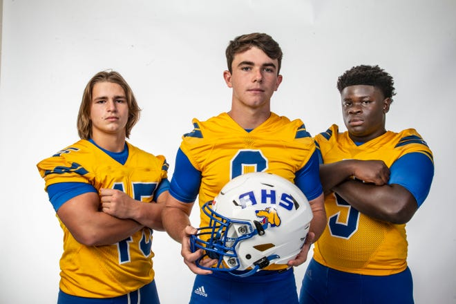 Auburndale quarterback Zach Tanner (center) will lead the offense, while linebackers Evan Ellison and Josh Etienne will patrol the defensive side at linebacker.