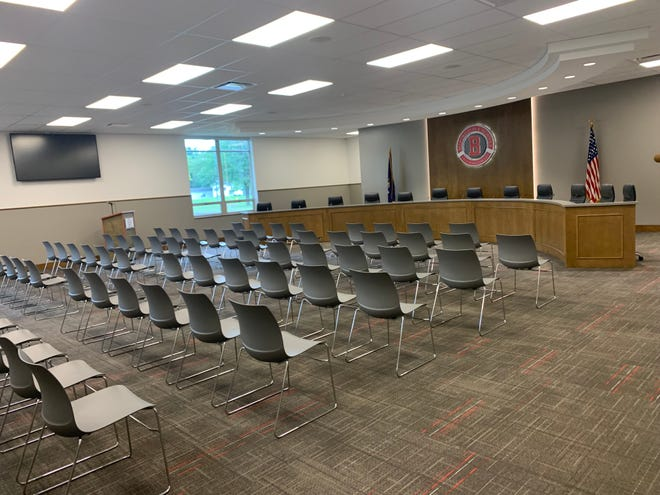 Bedford Public Schools' new board room inside the former Smith Road Elementary School was finished just hours before the board's most recent meeting, at which Supt. Dr. Carl Shultz presented an update on the ongoing bond work around the district.