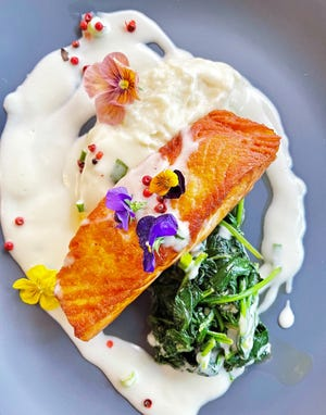 Pan-seared salmon is among the offerings at The Leopard Lounge & Restaurant at The Chesterfield.