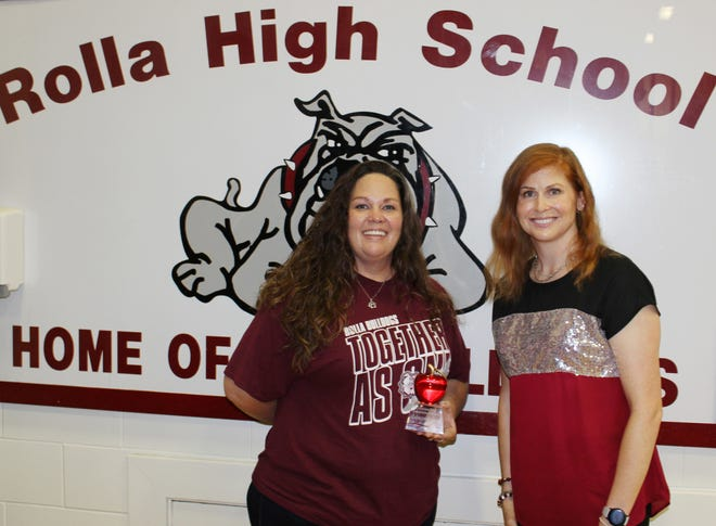 Rebecca Bolen, was recognized by the Education Committee of the Rolla Area Chamber of Commerce as the 2021 Outstanding Educator at the Rolla Public Schools Back-to-School Rally on Aug. 16, 2021.