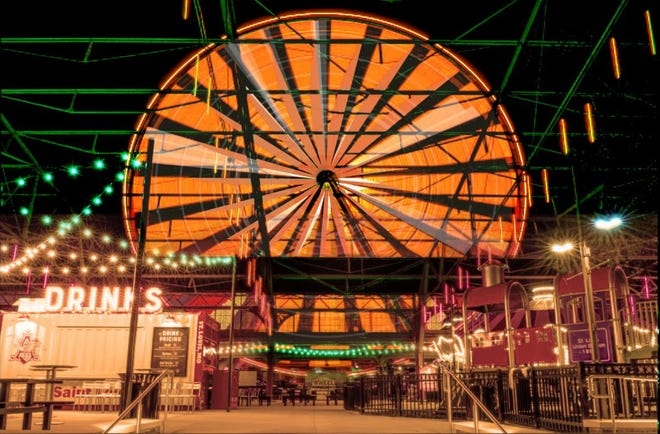 The St. Louis Wheel is dressed up for Train Or Treat at St. Louis Union Station, Oct. 8-31.