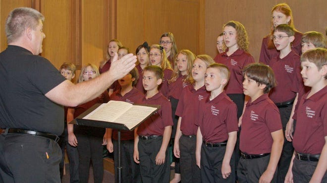 The Rolla Community Children's Choir, which is made up of singers from ages 9 to 16, shown rehearsing from a prior year before the COVID-19 pandemic.
