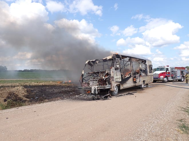 A Pace Arrow RV was discovered abandoned and engulfed in flames Wednesday afternoon.
