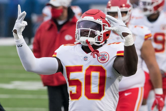 The Kansas City Chiefs are looking for linebacker Willie Gay  (50) to take a big step forward in his second NFL season.