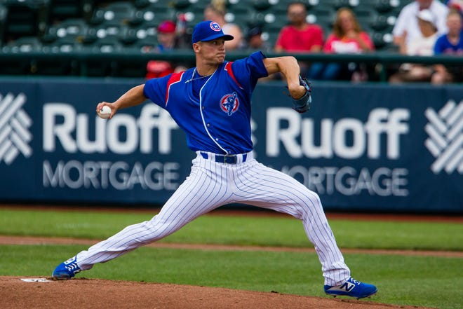 South Bend's Joe Nahas pitches against Cedar Rapids July 14, 2021 at Four Winds Field in South Bend. On Thursday, Nahas tossed a three-hitter as the Cubs beat Quad Cities, 5-1.