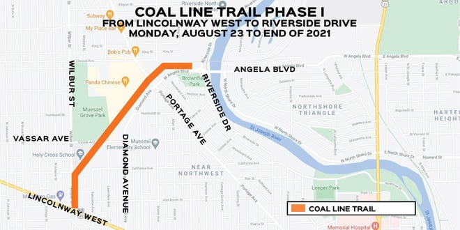 This map from the city of South Bend shows the first phase of the Coal Line Trail that is set to be built in 2021.