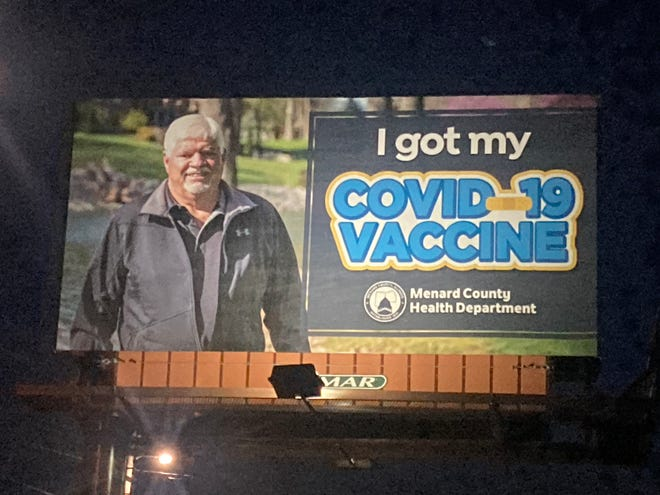 Several billboards promoting COVID-19 vaccines dot Menard County. This billboard, outside of Roots Banquet Hall on Illinois 97 in Petersburg, features former state representative and Menard County commissioner Rich Brauer.