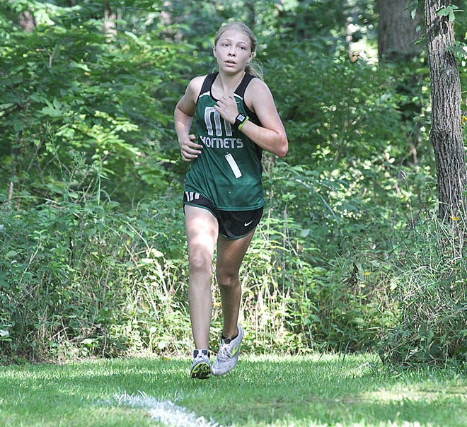 Freshman Presley Allen of Mendon took first place in her inaugural varsity race on Wednesday.
