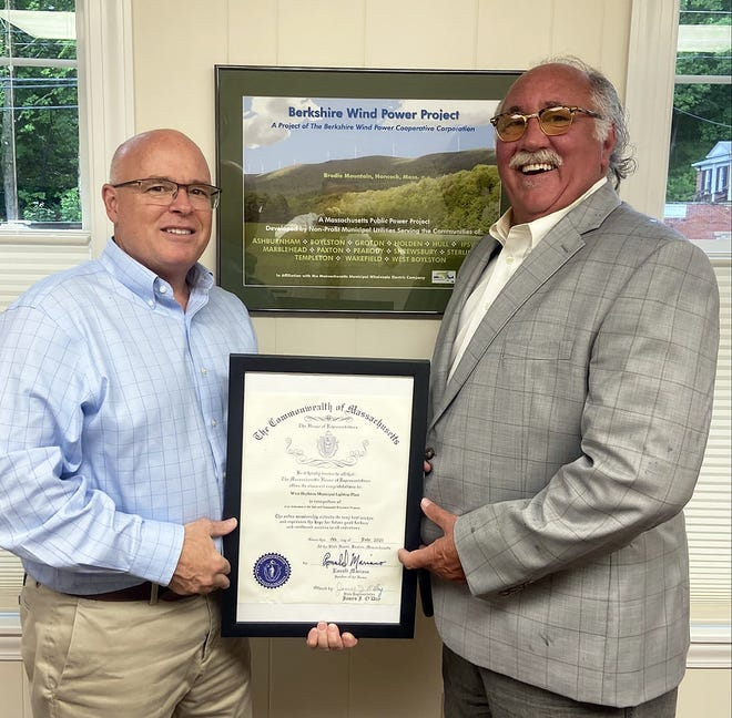 State Rep. James O'Day visited the West Boylston Municipal Light Plant recently and presented General Manager Jonathan Fitch with a citation from the Mass. House of Representatives for the plant's work on the Safe and Sustainable Education Program of Massachusetts.