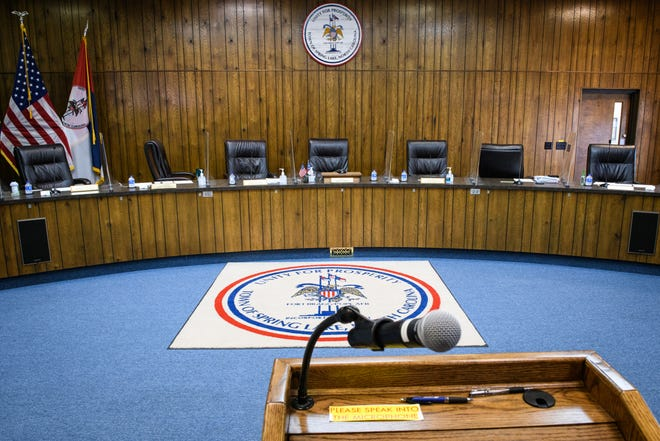 An empty Spring Lake's Board of Aldermen meeting room in the Spring Lake municipal building is seen on June 28.