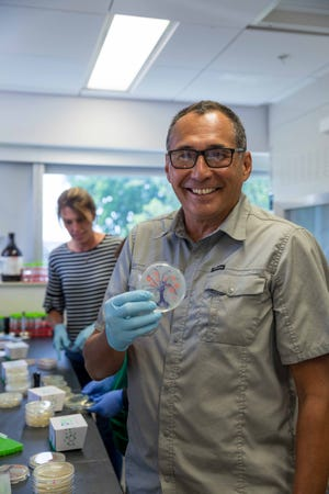 Brian LaBelle, a science teacher at Tiospa Zina Tribal School, shows off the picture he painted in a petri dish using different types of bacteria during a synthetic biology workshop at SDSU.