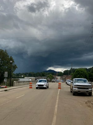 Rain clouds form over Canton Aug. 19. The area, already inundated from Tropical Depression Fred, is under a storm advisory from the National Weather Service.