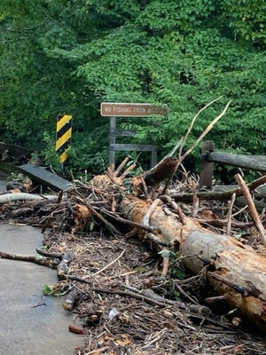 Significant damage from Tropical Depression Fred caused heavy rain, widespread flooding and downed trees throughout the Pisgah National Forest Aug. 17 and 18.