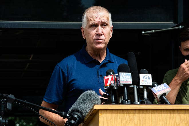 Senator Thom Tillis speaks at a press conference in Canton after Tropical Depression Fred on Thursday, Aiugust 19, 2021.