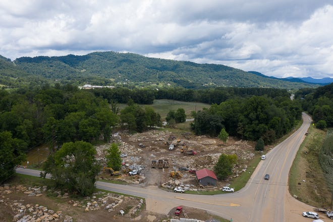 Aftermath of flooding in Canton, NC, Aug. 19, 2021.