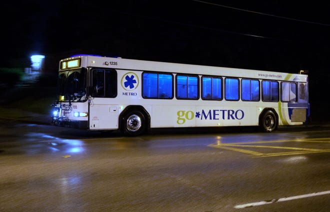 A Metro bus travels down Colerain Avenue in Mount Airy, August 19, 2021. This is for a filer.