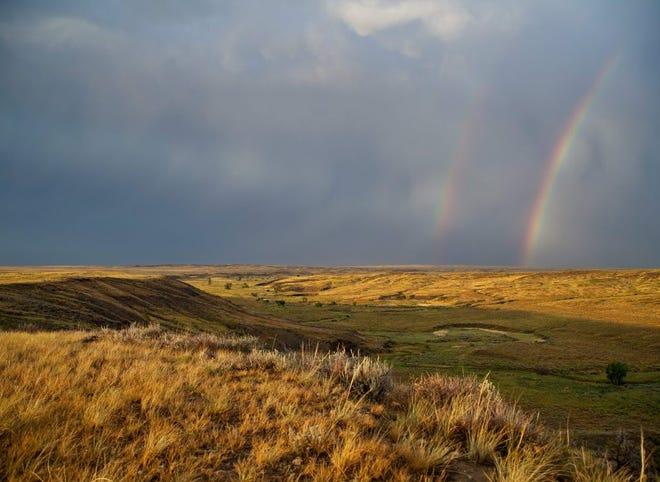 A double rainbow near Box Elder Creek.