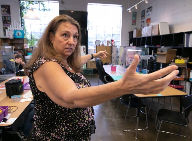 Lynn Wilde talks on Thursday, Aug. 19, 2021 about her plans to bring professional theater to the Studio West building in Brighton, a space soon to be vacated by Work Skills Corporation's Artisan Corner.