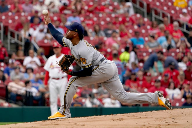 Brewers starter Freddy Peralta came out in the third inning Wednesday night.