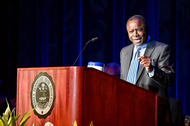 MTSU President Sidney A. McPhee gives his State of the University Address Thursday, Aug. 19, during the university's annual Fall Faculty Meeting inside Tucker Theatre to kick off the 2021-22 academic year.