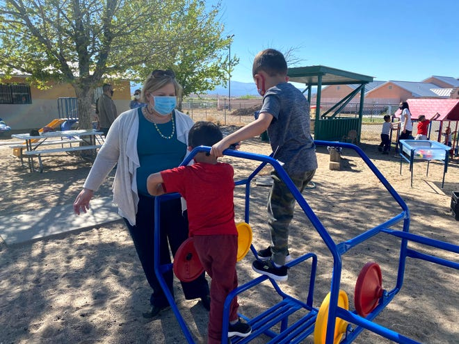 New Mexico Early Childhood Education and Care Department Secretary Elizabeth Groginsky visits with children at the Family Learning Center in Espanola for Teacher Appreciation Week in Spring 2020.