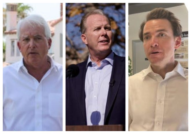 Republican gubernatorial candidates, from left, John Cox, Kevin Faulconer and Kevin Kiley