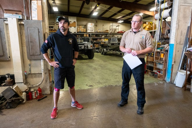 St. Clair County Dive Team Auxiliary ChairMatt Graham, left, and Chief Tony Spina are interviewed Wednesday, Aug. 18, 2021, at the dive team's garage in Marysville.