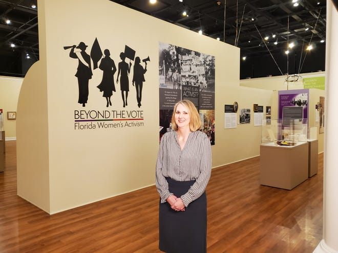 """Lisa Barton spent months preparing the Museum of Florida History for the """"Beyond the Vote: Florida Women's Activism"""" exhibit, which will have extended hours on Aug. 26, 2021"""